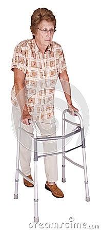 Mature Senior Elderly Woman Walker Aid Isolated