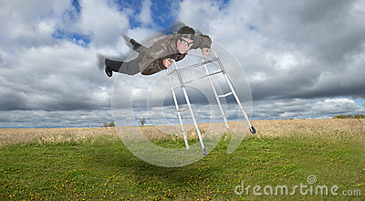 Mature Senior Man Fly in Sky With Walker, Young at Heart