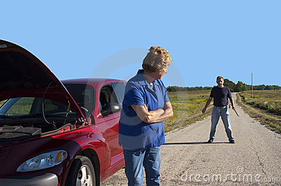 Mature Senior Woman Car Trouble, Danger Man Safety