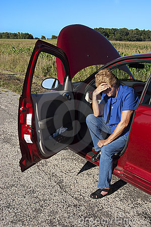 Mature Senior Woman Car Trouble, Road Breakdown