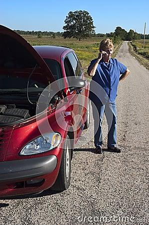 Mature Senior Woman Car Trouble, Road Breakdown