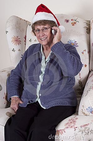 Mature Senior Woman Cell Phone Talk Christmas