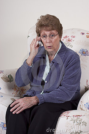 Mature Senior Woman Cell Phone Talk Gossip