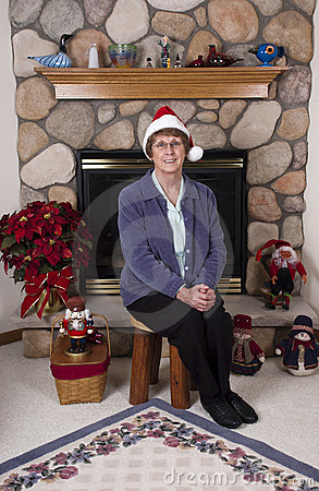 Mature Senior Woman Christmas Santa Claus Hat