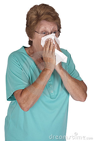 Mature Senior Woman Cold Flu Season Isolated