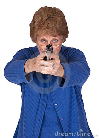 Mature Senior Woman Grandma Hold Hand Gun Pistol