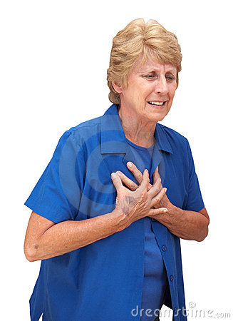 Free Mature Senior Woman Heart Chest Pains Isolated Stock Photo - 15399620