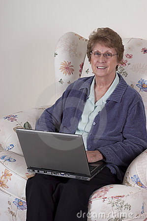 Mature Senior Woman Laptop Computer, Happy Smile