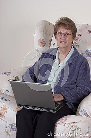 Mature Senior Woman Laptop Computer, Happy Smile