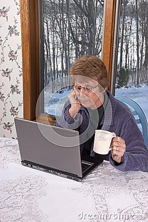 Mature Senior Woman Laptop Computer House Home
