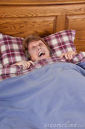 Mature Senior Woman Scared, Frightened in Bed