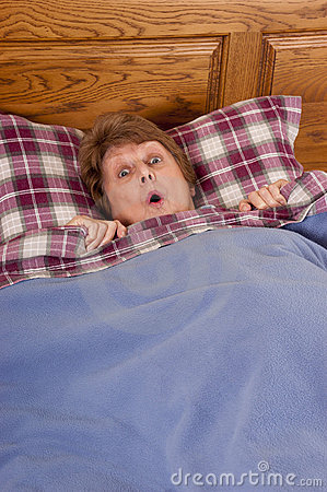 Mature Senior Woman Shock Surprise in Bed