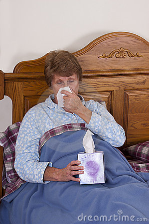 Mature Senior Woman Sick Bed, Sniffles, Allergies