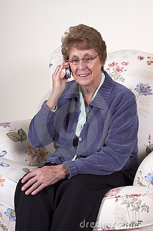 Mature Senior Woman Smile Talk Cell Phone