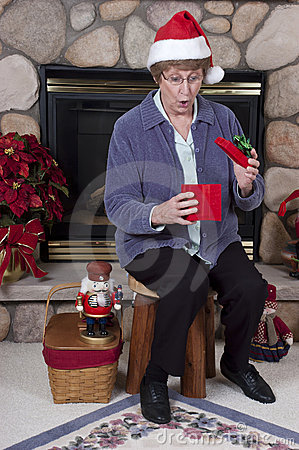 Mature Senior Woman Surprise Christmas Present