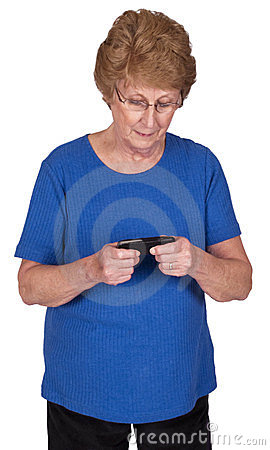 Mature Senior Woman Texting on Cell Phone Isolated