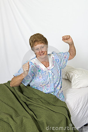 Mature Senior Woman Waking Up Good Night Sleep