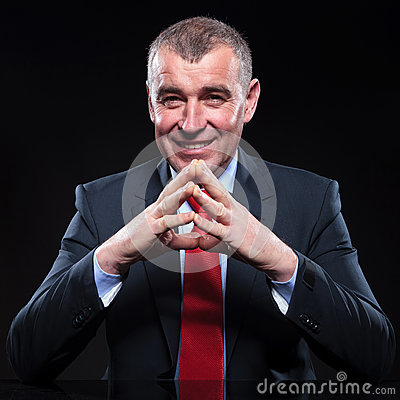 Free Mature Smiling Business Man Waiting For You Stock Image - 38715161