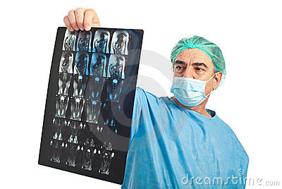 Mature surgeon man review magnetic resonance