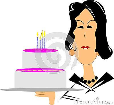 Mature woman with birthday cake