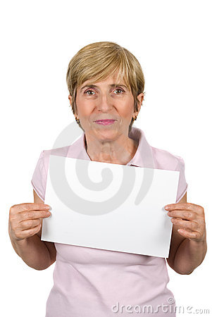 Mature woman with blank sign
