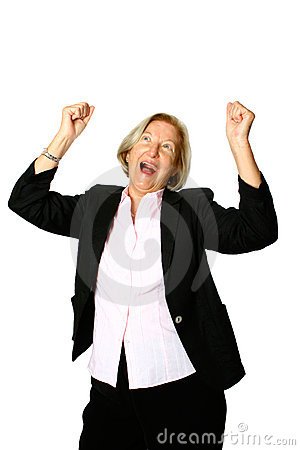 Mature woman celebrates