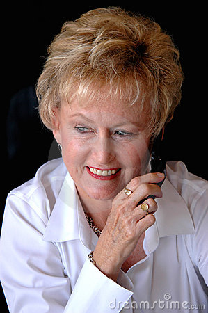 Mature woman on cell phone