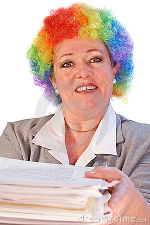Mature woman in clown wig