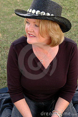 Mature Woman In Cowboy Hat