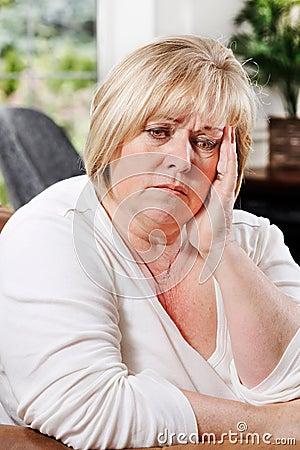 Mature woman distressed