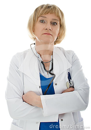 Mature woman doctor isolated