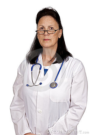 Mature Woman Doctor Looking Serious