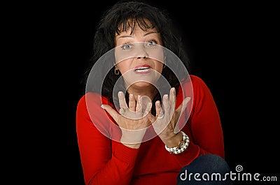 Mature woman emotionally arguing