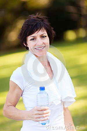 Mature woman after exercise