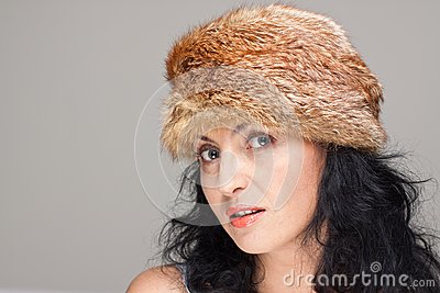 Mature woman in fur hat