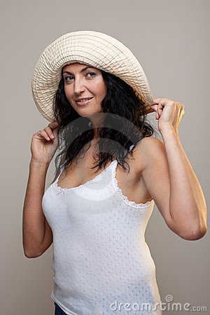 Mature woman in a hat