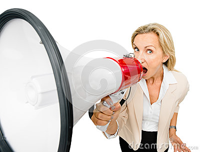 Mature woman holding magaphone shouting isolated on white backgr