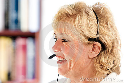 Mature woman phone headset