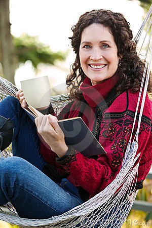 Free Mature Woman Reading A Book Royalty Free Stock Image - 12476226