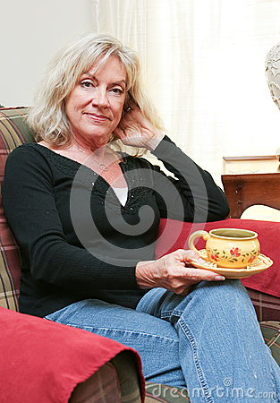 Mature Woman Relaxing at Home