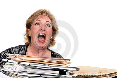 Mature woman screaming