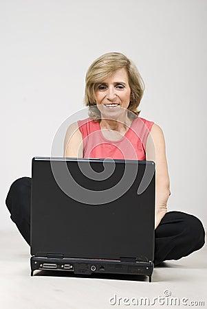 Free Mature Woman Sitting On Floor Stock Photo - 13993340