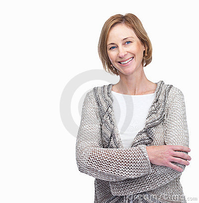 Mature woman smiling with lots of copyspace