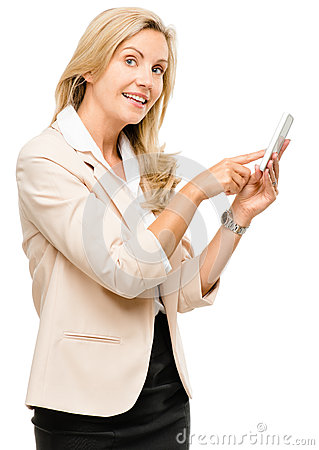 Mature woman using smartphone touchscreen isolated on white back