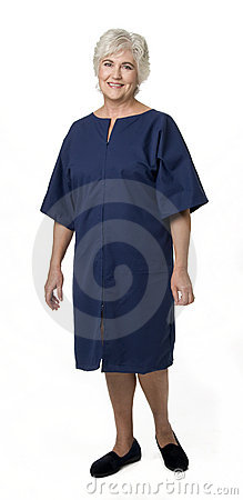 Mature Woman Wearing Hospital Attire