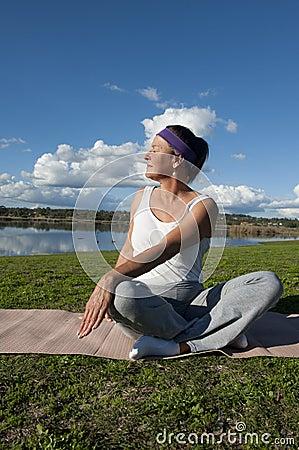 Free Mature Woman Yoga Royalty Free Stock Photography - 20343077