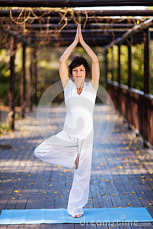 Mature woman yoga