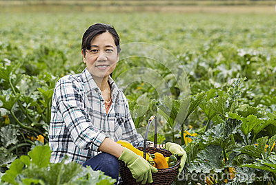 Mature women with basket of vegetables