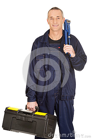 Free Mature Worker With Tools Bag And Wrench Stock Photos - 49396833