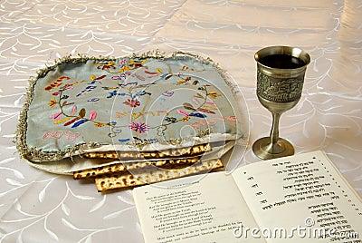 Matzah cover, wine and haggadah